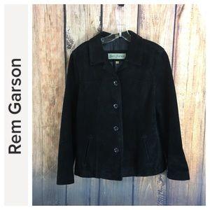 💸REM GARSON black suede leather jacket size M